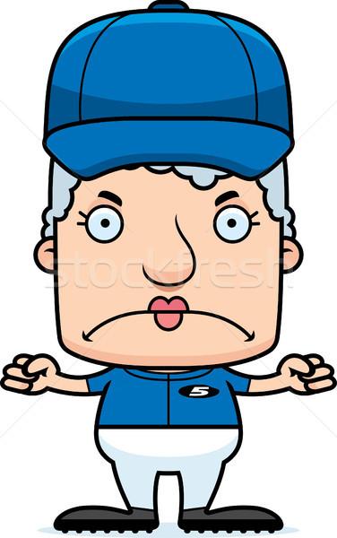 Cartoon Angry Baseball Player Woman Stock photo © cthoman