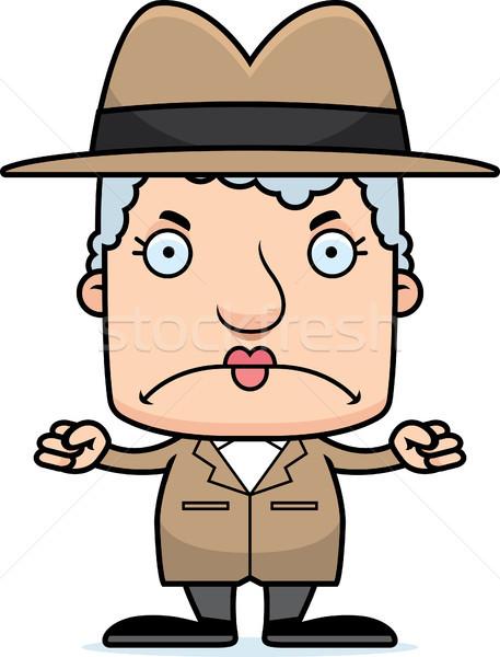 Cartoon colère détective femme regarder Photo stock © cthoman