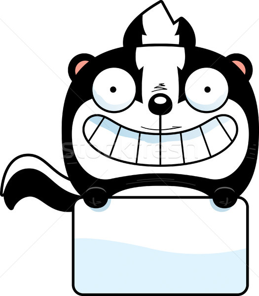 Cartoon stinkdier teken illustratie witte gelukkig Stockfoto © cthoman