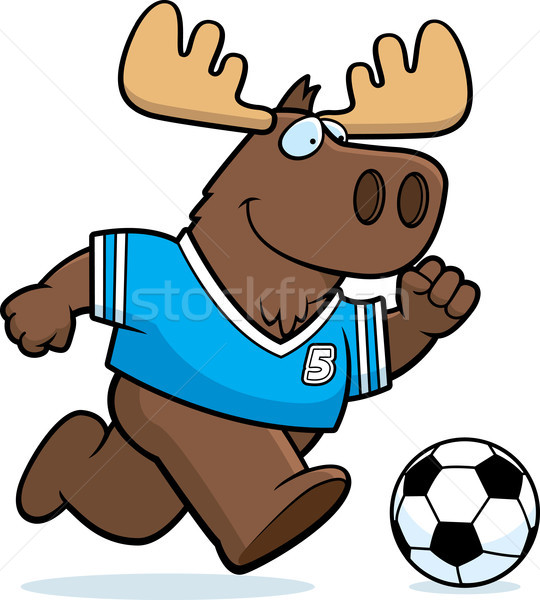Cartoon eland voetbal illustratie spelen team Stockfoto © cthoman