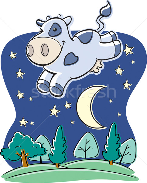 Mucca luna felice cartoon jumping Foto d'archivio © cthoman