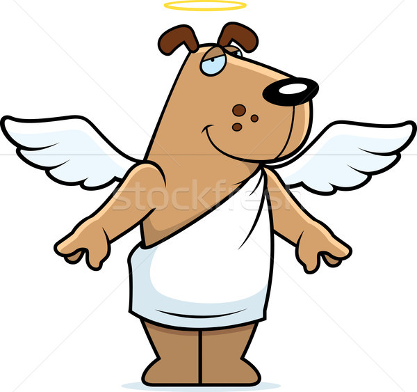 Engel hond gelukkig cartoon vleugels halo Stockfoto © cthoman