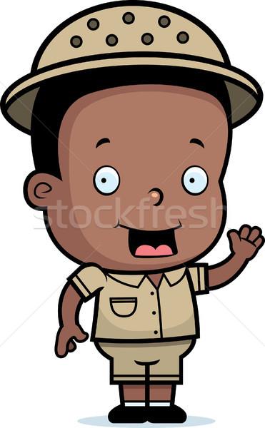 Safari garçon heureux cartoon souriant Photo stock © cthoman