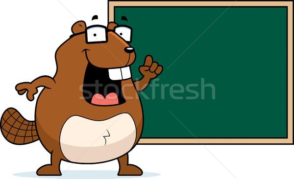 Castor quadro-negro feliz desenho animado escolas educação Foto stock © cthoman