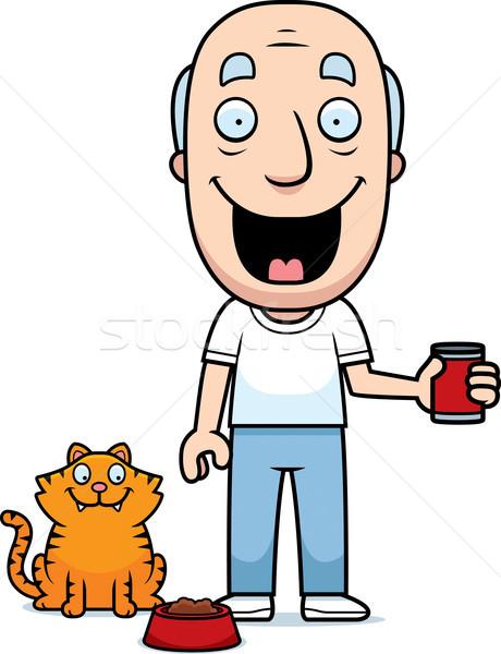 Cartoon Man Feeding Cat Stock photo © cthoman