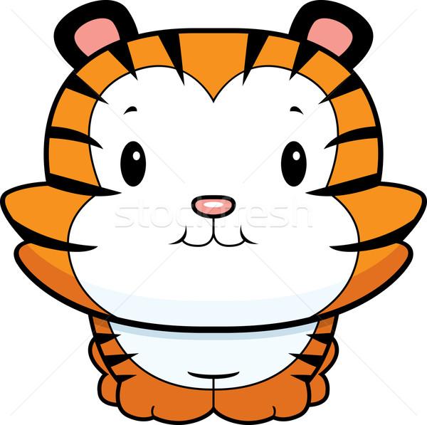 Baba tigris medvebocs boldog rajz mosolyog Stock fotó © cthoman