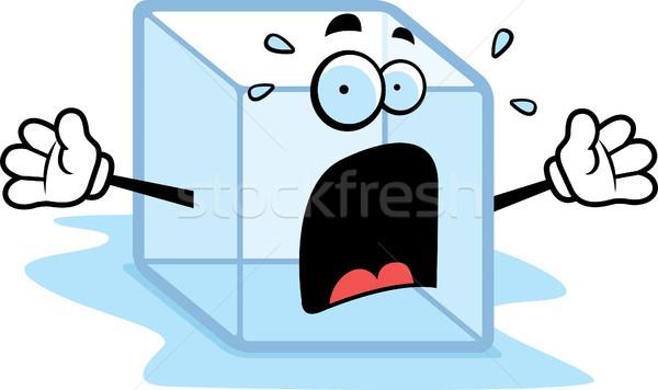 Gelo Desenho Animado Ice Cube Assustado Cubo
