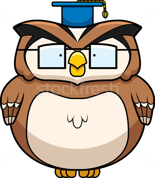 Professor Coruja Desenho Animado Oculos Em Pe