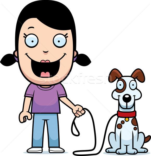 Rajz lány sétál kutya boldog gyerekek Stock fotó © cthoman