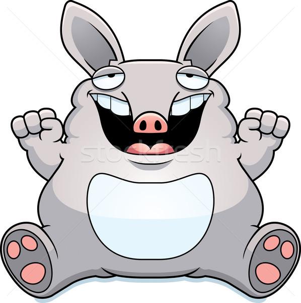 Cartoon grasa sesión ilustración sonriendo animales Foto stock © cthoman