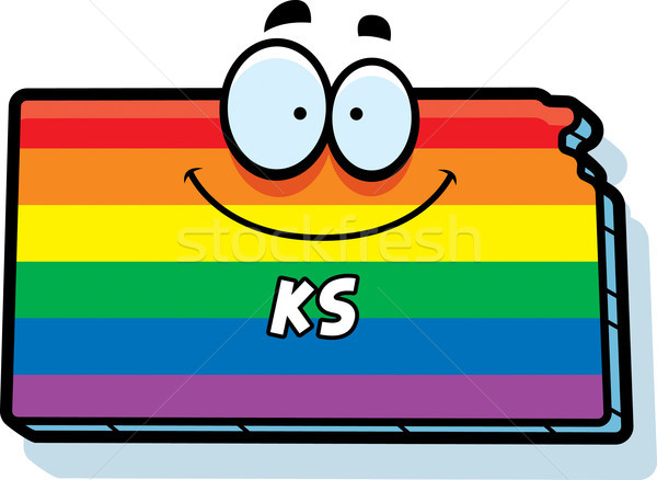 Cartoon Kansas matrimonio gay illustrazione sorridere Rainbow Foto d'archivio © cthoman