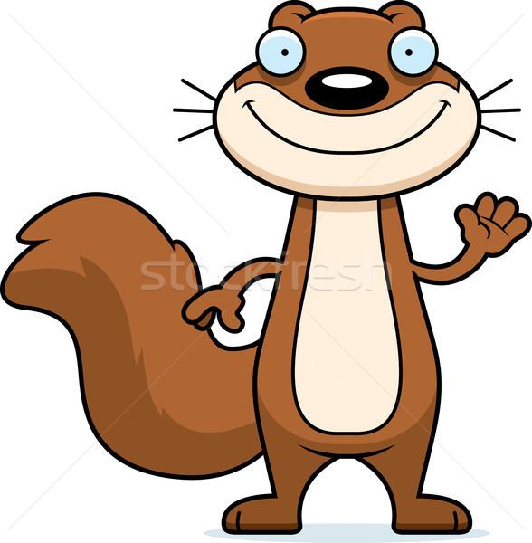 Rajz mókus integet illusztráció boldog hullám Stock fotó © cthoman