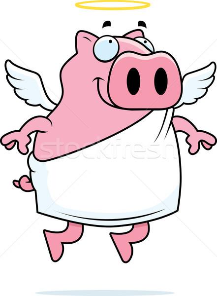 ангела свинья счастливым Cartoon гало Сток-фото © cthoman