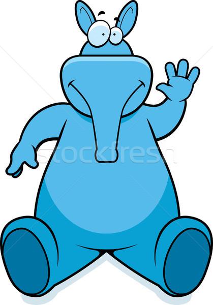 Vergadering gelukkig cartoon glimlachend dier Stockfoto © cthoman