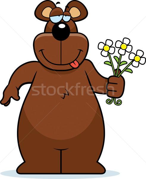 Beer bloemen gelukkig cartoon boeket Stockfoto © cthoman