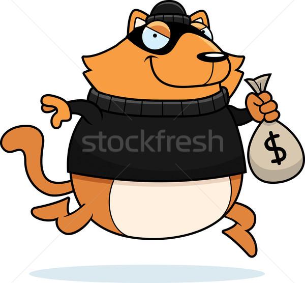 Cartoon cat scassinatore illustrazione rubare soldi Foto d'archivio © cthoman