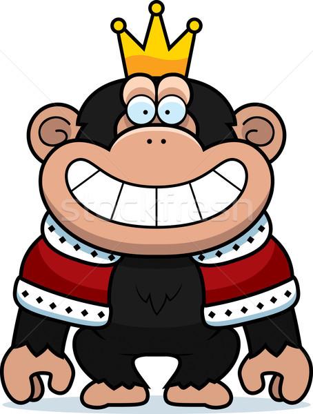 Rajz csimpánz király illusztráció csimpánz korona Stock fotó © cthoman