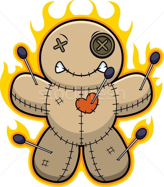 Cartoon lalek płomienie ilustracja graficzne zły Zdjęcia stock © cthoman