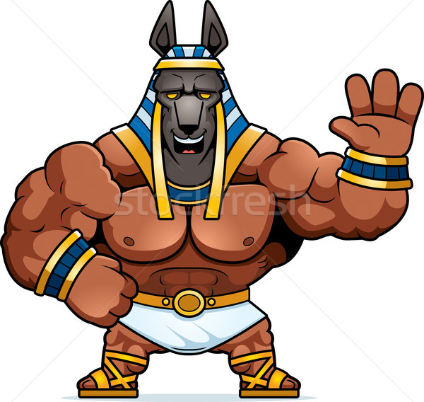 Cartoon Anubis Waving Stock photo © cthoman