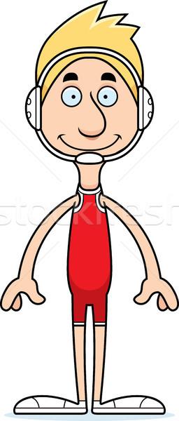Cartoon glimlachend worstelaar man Stockfoto © cthoman