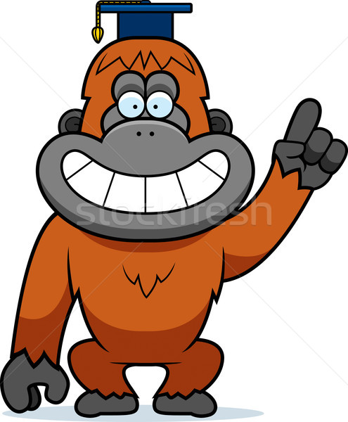 Cartoon Orangutan Professor Stock photo © cthoman