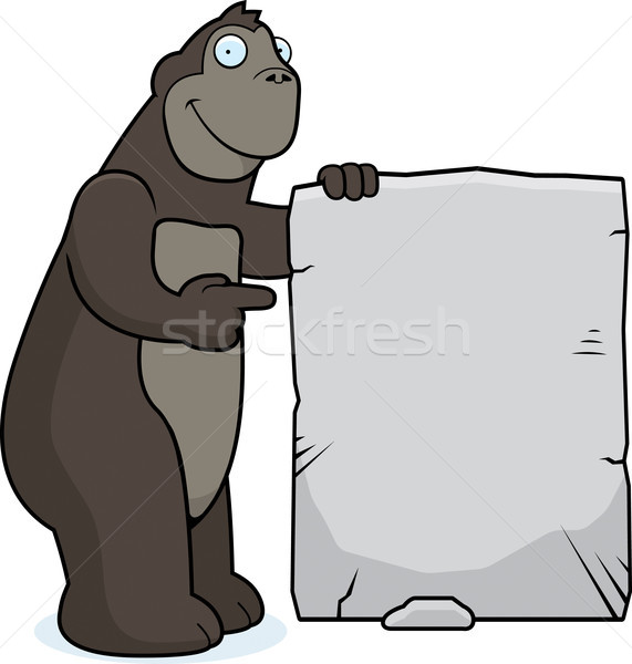 Gorilla segno felice cartoon pietra animale Foto d'archivio © cthoman