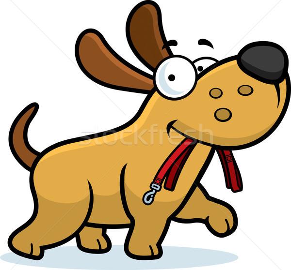 Cartoon hond riem lopen mond Stockfoto © cthoman