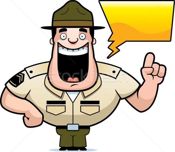 Cartoon дрель сержант говорить иллюстрация счастливым Сток-фото © cthoman