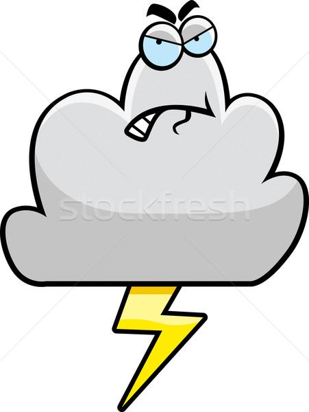 Slechte weer cartoon storm wolk boos Stockfoto © cthoman