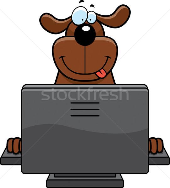 Hond computer gelukkig cartoon toetsenbord Stockfoto © cthoman