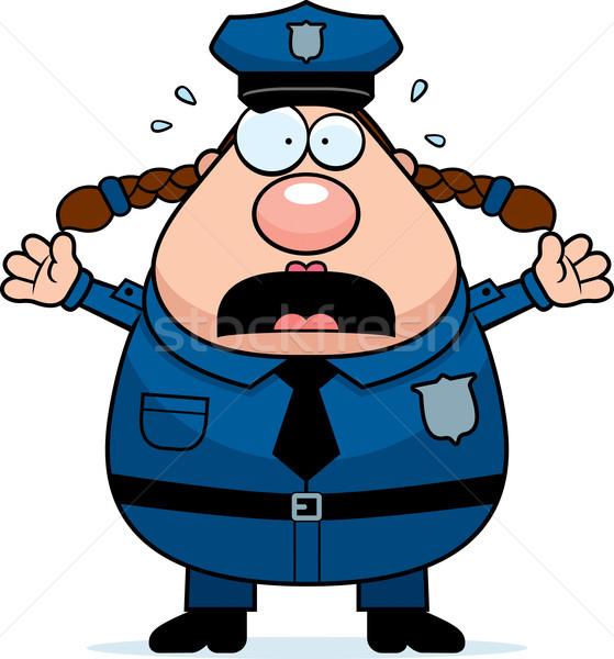 Paura polizia donna cartoon illustrazione guardando Foto d'archivio © cthoman
