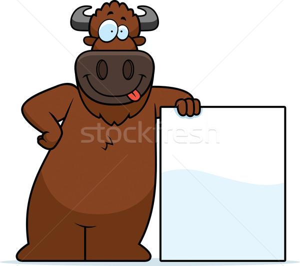 Cartoon Buffalo Sign Stock photo © cthoman