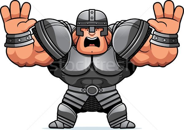 Cartoon воин страшно иллюстрация глядя мужчин Сток-фото © cthoman