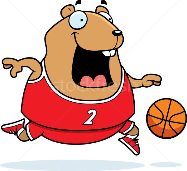 Cartoon Hamster Basketball Stock photo © cthoman