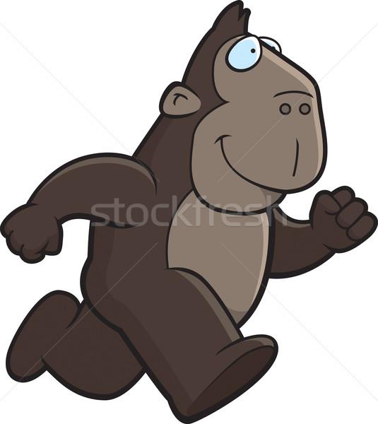 обезьяна работает счастливым Cartoon улыбаясь Сток-фото © cthoman