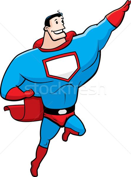 Superhero pływające szczęśliwy cartoon uśmiechnięty Zdjęcia stock © cthoman