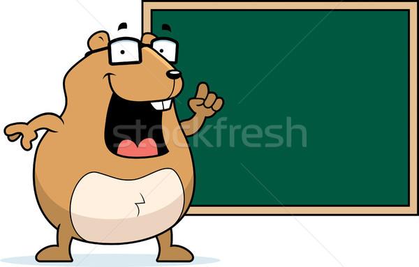 хомяк доске счастливым Cartoon школы образование Сток-фото © cthoman