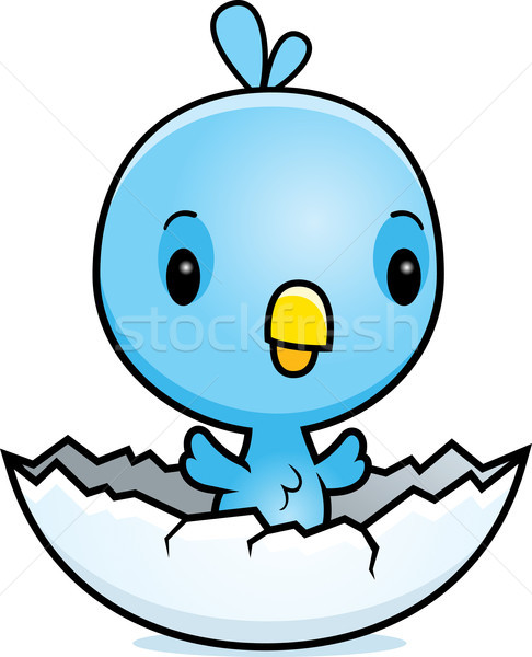 Cartoon Blue Bird Hatching Stock photo © cthoman