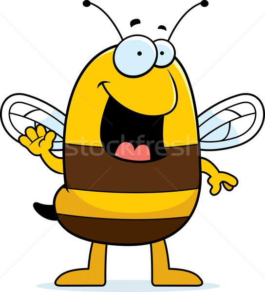 Rajz méh integet illusztráció mosolyog Stock fotó © cthoman