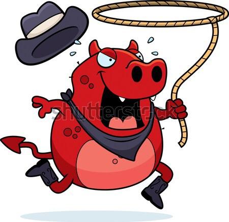 Cartoon diavolo scassinatore illustrazione rubare soldi Foto d'archivio © cthoman