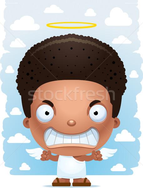 Boos cartoon jongen engel illustratie kinderen Stockfoto © cthoman