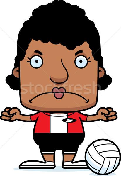 Rajz mérges röplabda játékos nő néz Stock fotó © cthoman