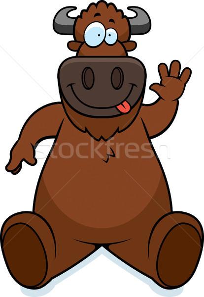 Cartoon Buffalo Sitting Stock photo © cthoman
