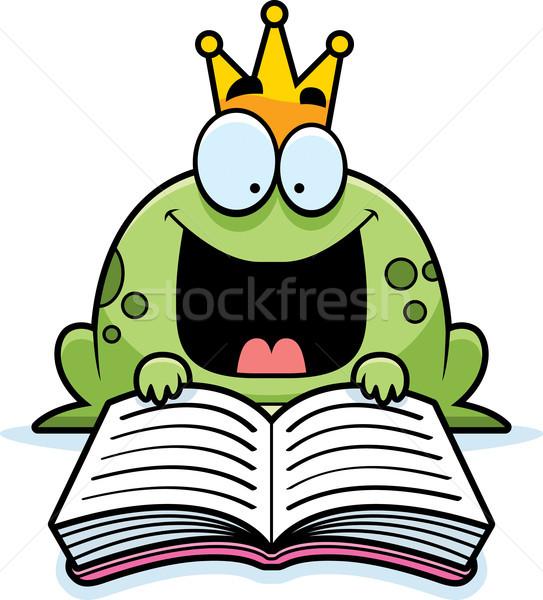 Desenho animado sapo príncipe leitura ilustração livro Foto stock © cthoman