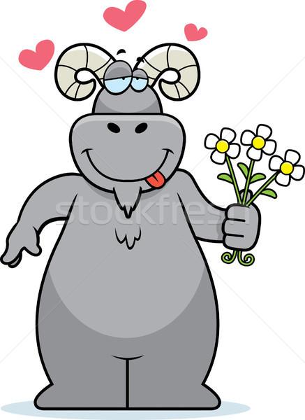 Widder Blumen glücklich Karikatur Bouquet Liebe Stock foto © cthoman
