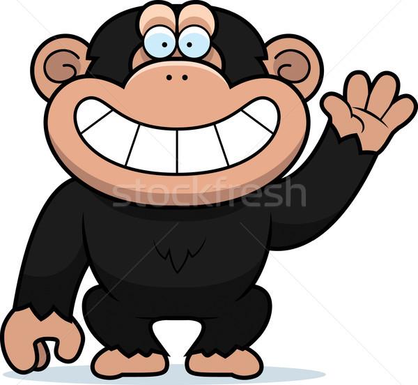 Cartoon chimpansee illustratie gelukkig tanden Stockfoto © cthoman