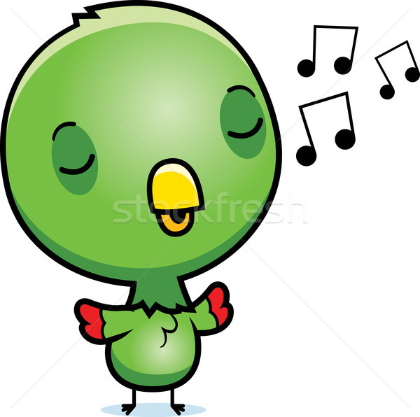 Cartoon Baby Parrot Singing Stock photo © cthoman