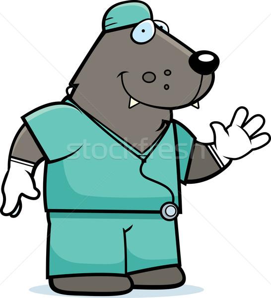 Cartoon wilk lekarza ilustracja psa Zdjęcia stock © cthoman