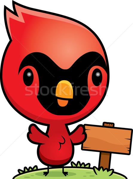 Cartoon Baby Cardinal Wood Sign Stock photo © cthoman