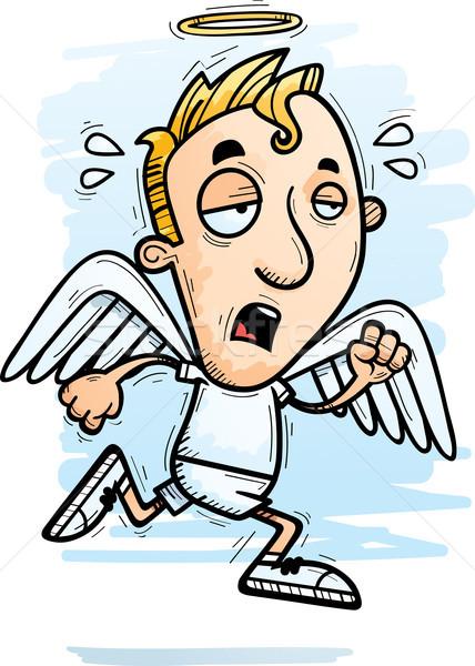 Agotado Cartoon ángel ilustración ejecutando mirando Foto stock © cthoman